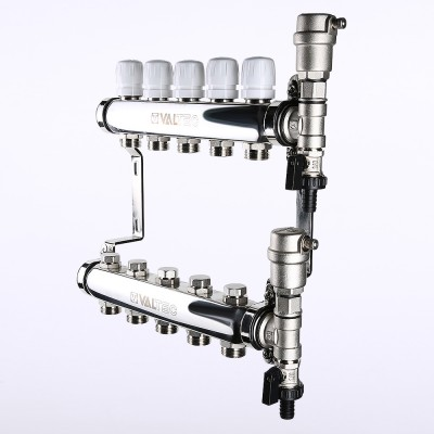 Коллекторный блок Valtec 1 дюйм, 5 x 3/4 дюйма, евроконус с термостатическими клапанами (VTc.588.EMNX.0605)