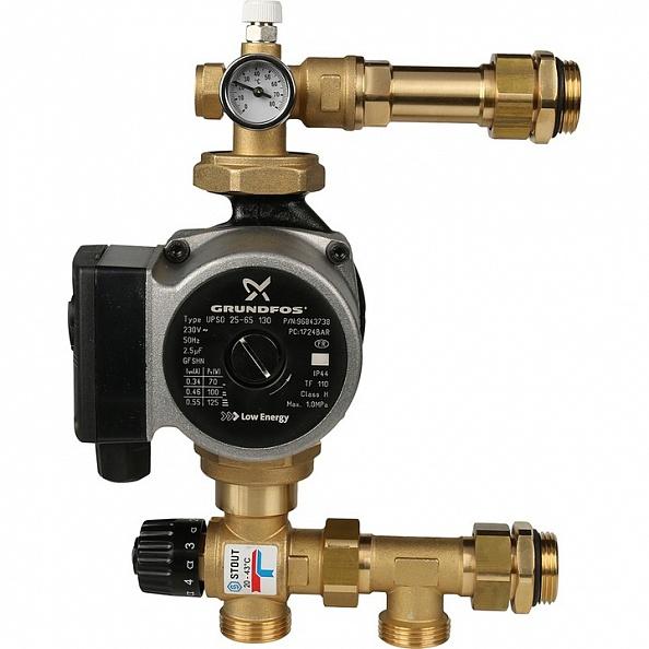 Насосно-смесительный узел Stout с термостатическим клапаном 20-43°C, с насосом UPSO (арт. SDG-0020-004001)
