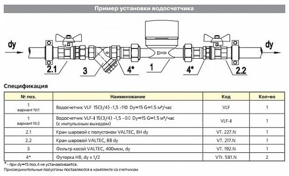 """Водосчетчик универсальный Valtec 1/2"""", 110 мм (VLF-15U)"""
