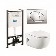 Комплект Roca Meridian унитаз, инсталляция,сиденье,кнопка (893104110)