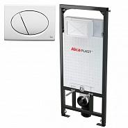Инсталляция для подвесного унитаза Alcaplast Sadroмodul (AM101/1120+M70) (комплект 3 в 1) кнопка белая
