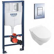 Комплект инсталляция и унитаз подвесной стандартные цвет унитаза: белый Grohe Rapid SL (38772001-5660H101)
