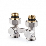 """Прямой Н-образный клапан SR Rubinetterie для нижнего подключения отопительных приборов 1/2"""" x 3/4"""", Никель (0741-1500N0E0)"""