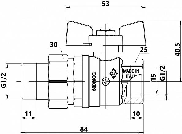 """Кран шаровый Bugatti Oregon 322 Н/В (Ду=15 мм) 1/2"""" с накидной гайкой (03220027)"""