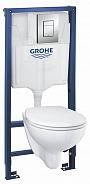 Комплект инсталляция и унитаз подвесной безободковый цвет унитаза: альпийский белый Grohe Solido Compact (39586000)