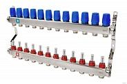 Коллектор из нержавеющей стали для теплого пола в сборе MVI на 12 вых. (арт. MS.512.06)