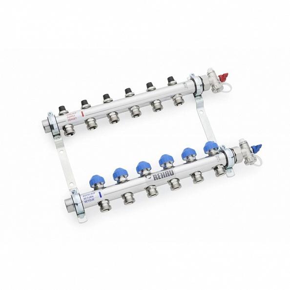 Коллектор Rehau HKV-8 с регулирующими вставками на 8 контуров (арт. 12180811001)
