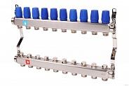 Коллектор из нержавеющей стали для теплого пола в сборе MVI на 10 вых. (арт. MS.410.06)